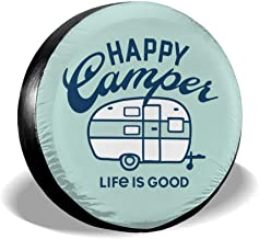 Fresquo Spare Tire Cover Happy Camper Camping Universal Wheel Tire Covers for Jeep Trailer RV SUV Truck Camper Travel Trailer Accessories (14,15,16,17 Inch)