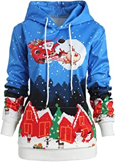 DongDong ☃Xmas Hooded Plus Size Sweatshirt- Women's Fashion Santa Claus Elk Print Drawstring Pullover Tops