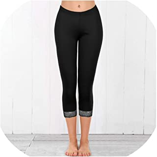 2019 Fashion Women Sexy Solid Elastic Sweatpants Lace Patchwork Skinny Leggings Fitness Gym Running Pants Calf Length