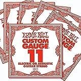 6 Pack Ernie Ball Custom Gauge 11's Guitar Single Strings Electric/Acoustic
