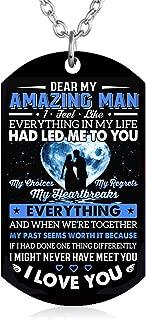 Gift To My Husband Boyfriend Fiance Man From Wife Girlfriend Dog Tag Necklace Love Jewelry