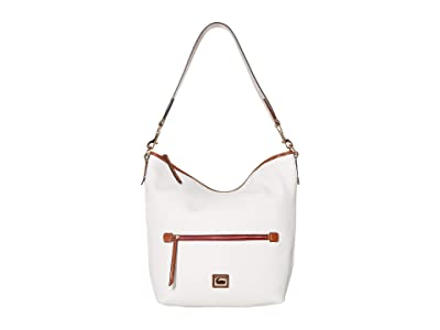 Dooney & Bourke Camden Pebble Hobo (White/Brandy Trim) Handbags