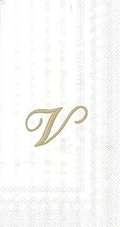 "Ideal Home Range 96 Count Stripes Again Monogram Letter V Paper Guest Towel Napkins, 8.5"" x 4.5"""