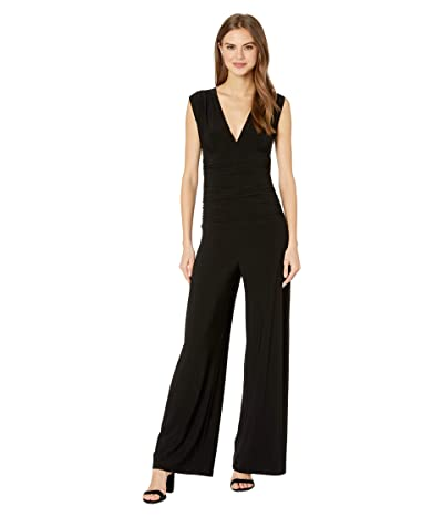 KAMALIKULTURE by Norma Kamali Sleeveless V-Neck Shirred Waist Jumpsuit (Black) Women