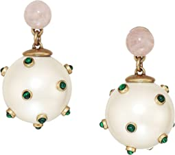 Studded Stone Pearl Drop Earrings