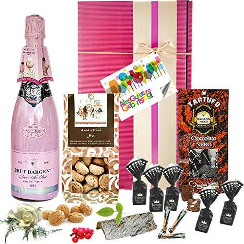 """♥ Geschenkkorb """"Zum Geburtstag"""" – eine Geschenkbox mit Sekt und Schokolade für kostbare und liebe Menschen"""