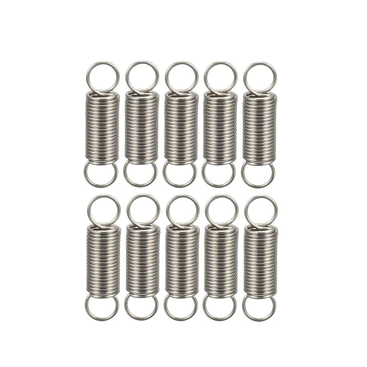 リーンライバル養うuxcell テンションスプリング 圧縮ばね ステンレス鋼材料 0.4x4x15mm 拡張圧縮スプリング 10個入り