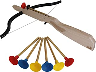 Varias Medidas y Colores Azul Corcho y Ventosa BSC Arco De Madera con Peto Medieval y Dos Flechas