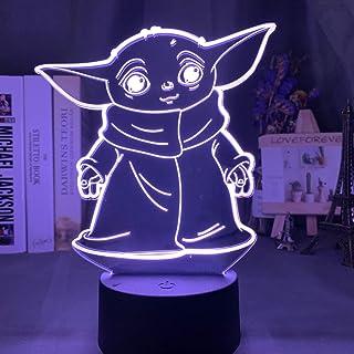 ZYQZYQ 3D Lámpara de óptica ilusión Luz nocturna para niños Baby Yoda Meme Figure Luz nocturna para la decoración del hogar Escritorio de la habitación Baby Night Light Mini Yoda