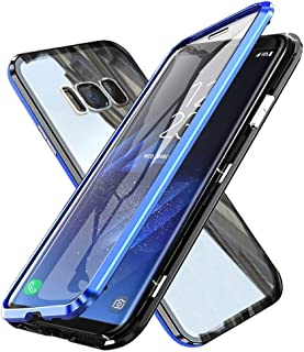 Case for Samsung Galaxy S8 Plus Flip Cover Magnetic Adsorption Metal Bumper Frame with Transparent 9H Tempered Glass Full ...
