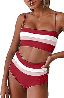 Women's Bikini Set Stripe Color Block Strap Wrap High Waist Two Piece Swimsuit