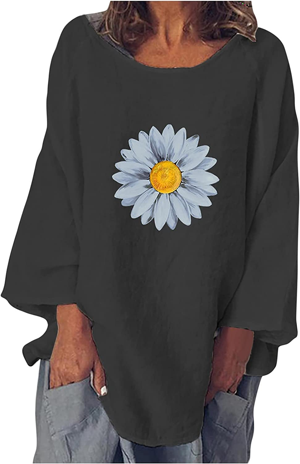 Women's O Neck Sunflower Print Blouse Tops Autumn Long Sleeve T-Shirt Tops Casual Loose Comfortable Tunic Tee Tops