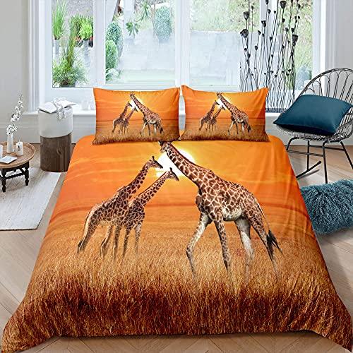 Sovrum sängkläder giraff i vetefält supermjukt och mysigt lättskött påslakan täcke sängkläder set – 220 x 230 cm + 2 matchande örngott – 50 x 75 cm