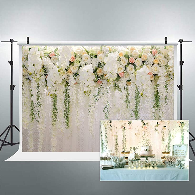 Cdcurtain Bridal Floral Wall Backdrop Wedding Rose 8x6ft Reception Ceremony Photography Background Photo Birthday Party Dessert Table Photo Shoot Backdrop Vinyl Cloth