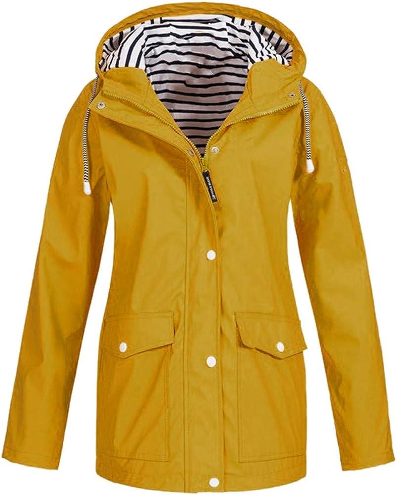 Womens Winter Warm Coat Hoodie Solid Rain Jacket Long Sleeve Warm Outdoor Plus Waterproof Raincoat Windproof Overcoat