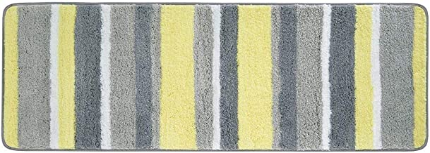 mDesign Striped Microfiber Polyester Rug, Non-Slip Spa Mat/Runner, Polyester, Gray/Yellow, Pack of 1