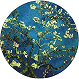 Mouse Pad, Round Blossoming Almond Tree Mouse Mat, Cute Mousepad with Design, Small Non-Slip Rubber Gaming Mouse Pad with Stitched Edges, Office Mouse Pad for Girls and Women, 7.9 x 7.9 Inch