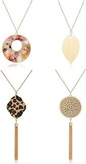 Long Necklace for Women Animal Print Leopard Tassel Necklace Filigree Leaf Pendant Necklace Acrylic Disk Circle Y Strands Necklaces Set