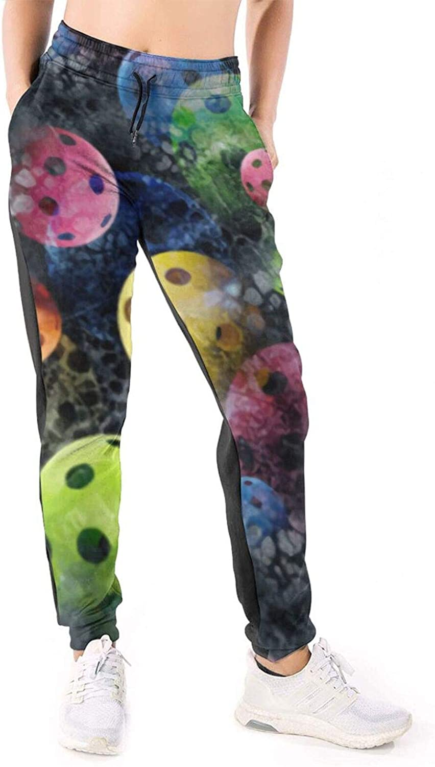 Women Joggers Pants Pickleball Ball Vintage Colorful Print Athletic Sweatpants with Pockets Casual Trousers Baggy