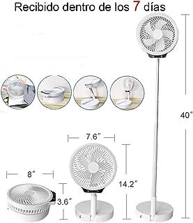 HUIDANGJIA Mini ventilador de pie,silencioso portatil,ajustable de 14 a 40 pulgadas,plegables,USB 8000 mAh batería recargable,3 velocidades,banco de energía, iluminación LED