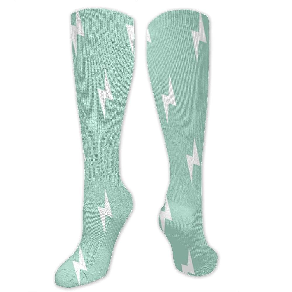 サルベージピーブ浮く靴下,ストッキング,野生のジョーカー,実際,秋の本質,冬必須,サマーウェア&RBXAA White Lightning Bolt On Mint Socks Women's Winter Cotton Long Tube Socks Knee High Graduated Compression Socks
