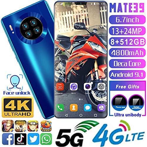 Mate39 Smartphone,6,7Zoll Wassertropfen Vollbildschirm, AI Quad Kamera, Gesichtserkennung, Dual SIM, WiFi, GPS,Android10.0 Handy