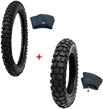 MMG Tire Set Off Road Knobby Front Tire Size 2.50-14 with Inner Tube and Rear Tire Size 3.00-12 with Inner Tube