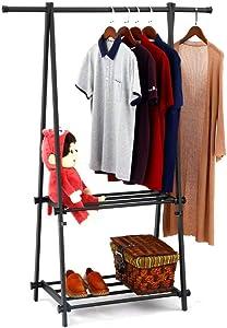 SUNPACE Modern Coat Rack with Shelf SUN007 Black Shoe Garment Rack Hanger Organizer Heavy Duty for Office,Entryway,Bedroom …