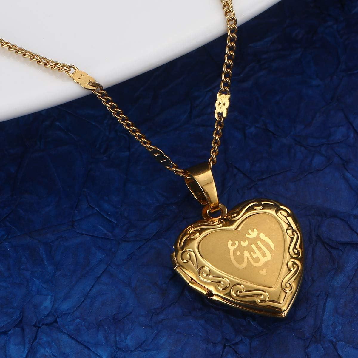 Yongkan Jewelry Allah Heart Locket Pendant Necklace Muslim Heart Allah Open Heart Pendnat Necklace with Chain