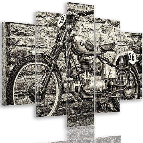 Feeby. Leinwandbild - 5 Teile - Bilder, Wand Bild, Wandbilder, Kunstdruck XXL, 5-Teilig, Typ A, 150x100 cm, Motorrad, BMW, Automotive, SCHWARZ UND WEIß
