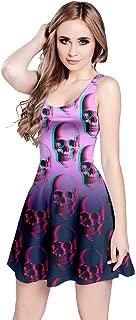 CowCow Womens Grunge Skulls Skeleton Bones Horror Creepy Weirdo Scarry Gothic Dark Sleeveless Dress, XS-5XL