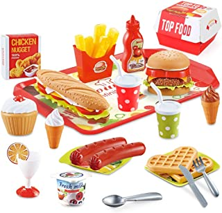 BeebeeRun Play Food Toys, Pretend Play Kitchen Set, Hamburger French Fries Variety Toys Gift for Kid ,Toddlers Pretend Foo...