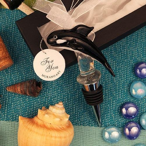 Murano Art Whale Black and White Wine Bottle Stoppers Glass Favors Wedding Favors Gift