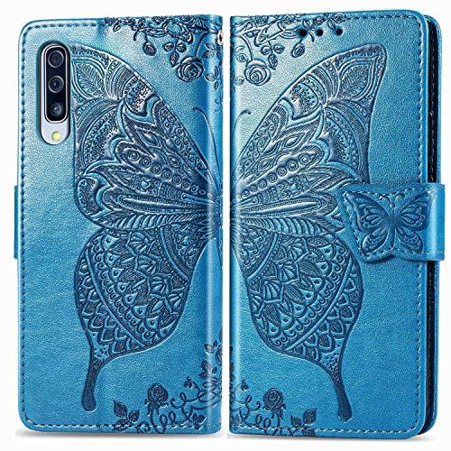 Bravoday Handyhülle für Samsung Galaxy A90 5G Hülle, Stoßfest PU Leder Tasche Flip Hülle Schutzhülle für Galaxy A90 5G, mit Kartenfäch und Kickstand, Blau