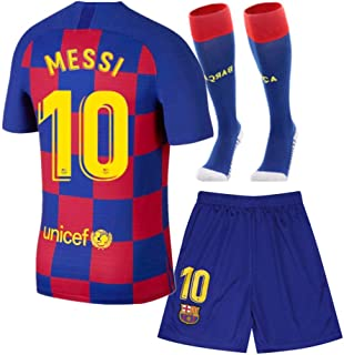 10 Messi Shirt 2019-2020 Season - Barcelona Lionel Messi Home Soccer T Shirt Shorts and Socks for Kids Youth Red/Blue