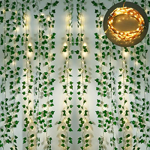 12 Strands Artificial Ivy Garland, Fake Vines Leaves Hanging Plants with 200 LED 64 Ft String Lights for Room Bedroom Kitchen Garden Office Wedding Wall Outdoor Decor, Green