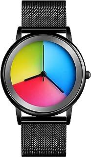 Womens Colorful Waterproof Wrist Watch - CakCity Unisex Stainless Steel Quartz Analog Watch Simple Fashion Rainbow Gradien...