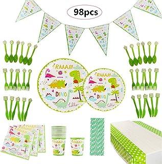 Banggoo 98pcs Dinosaur Theme Kids Birthday Party Supplies Decoration Set Disposable Tableware Set, Including Plate, Cup, N...