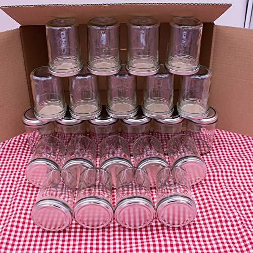 flaschenbauer.de 24er Set Sturzgläser 230 ml inkl. Silberne Twist Off Deckel TO66 zum Einmachen von Suppen, Babynahrung, Dips oder zur Aufbewahrung von Tee und Kräuter