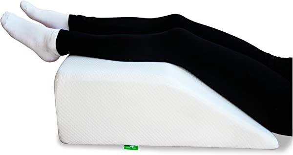 Post Surgery Elevating Leg Rest Pillow With Memory Foam Top Best For Back Hip And Knee Pain Relief Foot And Ankle Injury And Recovery Wedge Breathable And Washable Cover 8 Inch Elevator White