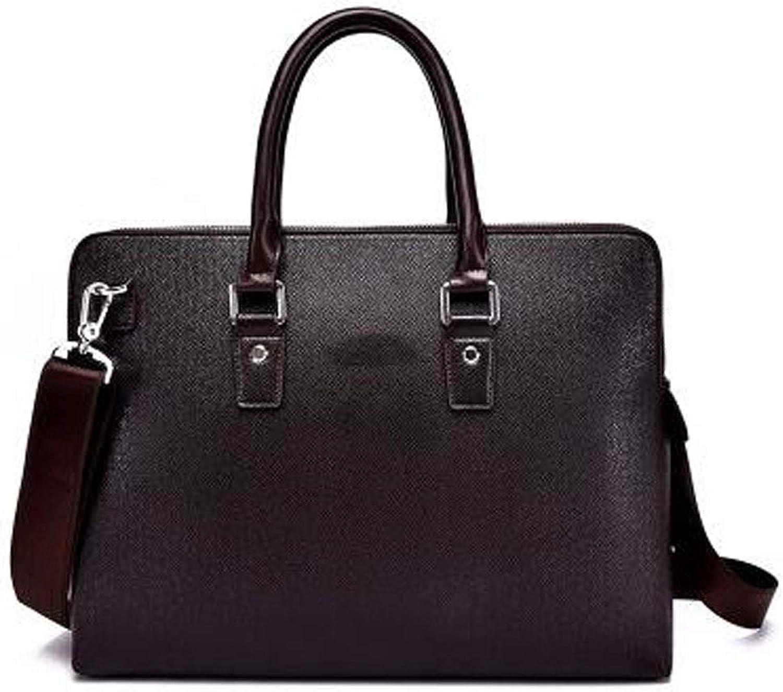 Qiaoxianpo01 Briefcase, New Leather Men's Bag, Double Zipper Men's Handbag, Size  38  8  29cm Wear Resistant (color   Dark Coffee)