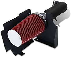 For Escalade Avalanche Suburban Sierra Denali Yukon Silverado 1500 2500 3500 (4.8L 5.3L 6.0L V8 Engine Only) 4 Inch Aluminum High Flow Air Intake Kit Black Heat Shield Pipe with Red Filter