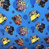 Stoffe-Monster Softshell Paw_Patrol hellblau Autos 0,50m x