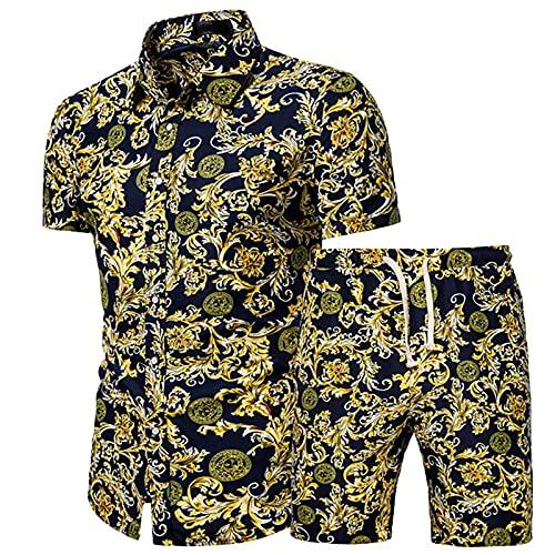Yowablo Hemden Shorts Hosen Sets Männer Sommer 2-teilige Strand Bedruckte Kurzarm (Hemden + Hosen) (XL,2weiß)