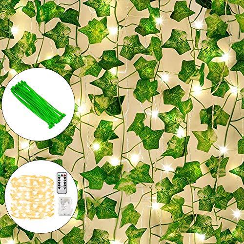 GUIFIER 12 Stränge Künstliche Efeu Girlande mit 200 LED Lichterkette, Künstliches Hängend Efeu, Künstliche Efeugirlande Grün Gefälschte Weinblätter Pflanzen für Zuhause, Büro, Hochzeit, Dekoration