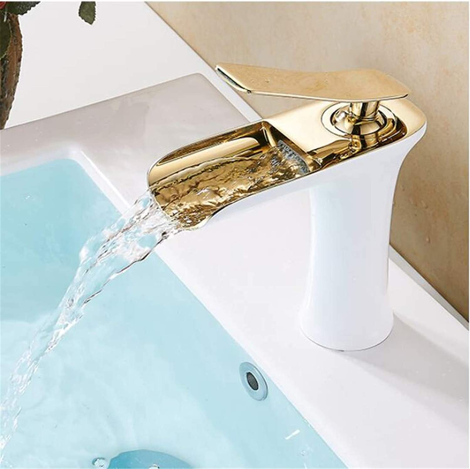S-Senrohy Chrome & White color Waterfall Faucet Brass Bathroom Faucet Bathroom Basin Faucet Mixer Tap Hot & Cold Sink Faucet white and gold