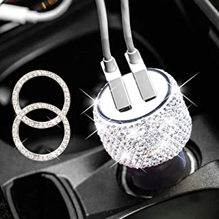 Dual USB Car Charger Bling Bling Handmade Rhinestones Crystal for Fast Charging Car Decors Decorations for iPhone Xs/Max/XR/X/8, iPad Pro/Air 2/Mini, Samsung Galaxy Note9/Note8/S9/S9+,LG, Nexus, HTC