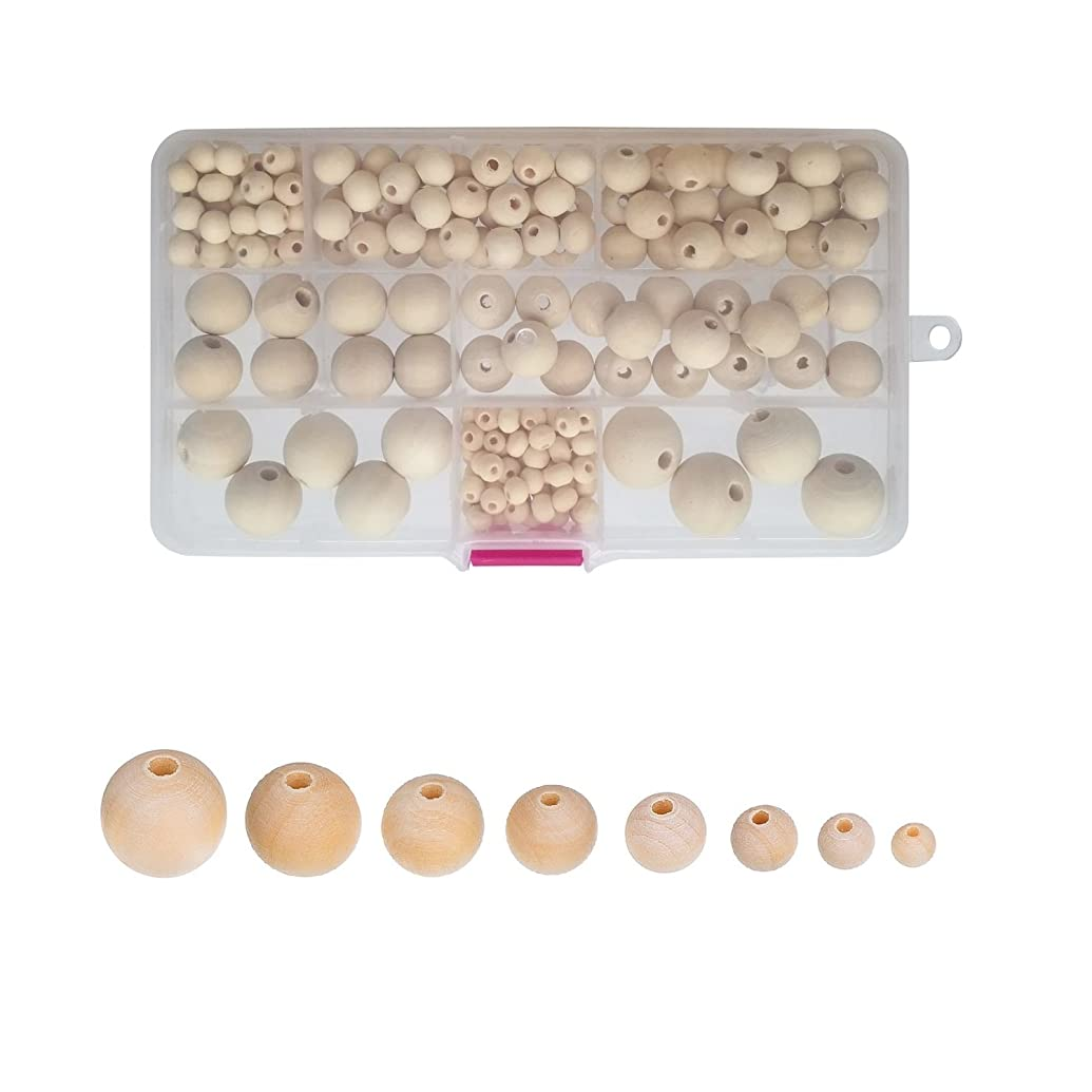 Amaney 220pcs 6mm-20mm Unfinished Wood Beads Assorted Natural Round Ball Loose Solid Wooden Spacer Beads for Crafts DIY Handmade Jewelry Making Bracelet Garland Hair