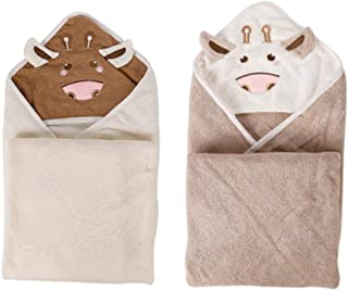 Baby Hooded Towels for Boys & Girls - Soft Bath Towels with Hood for Newborns, Infants & Toddlers (Age 0 to 5) - Perfect Baby Shower Gift - 2 Pack, White and Light Brown