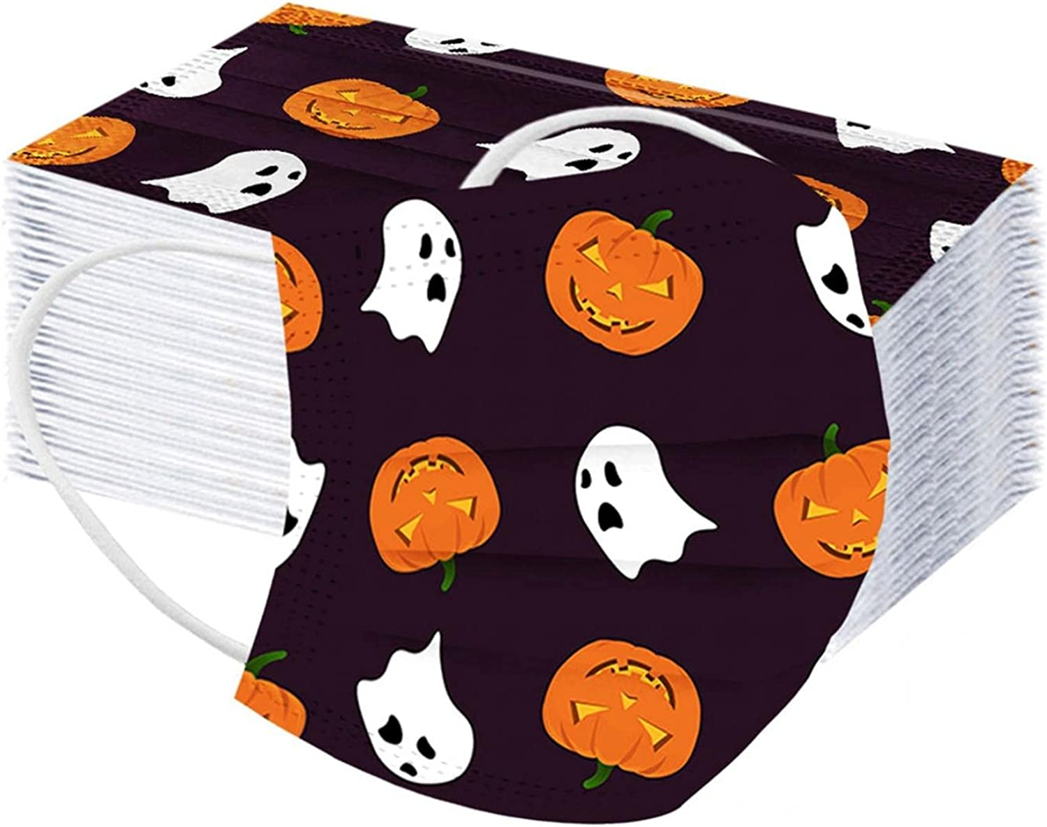 50PC Halloween Pumpkin Patterned Bat for Max 75% OFF Face_Masks Boston Mall Dispo Adult